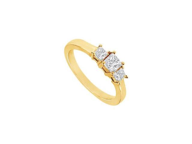 Cubic Zirconia Three-Stone Ring in 18K Yellow Gold Vermeil 2.00 ct. t.w.
