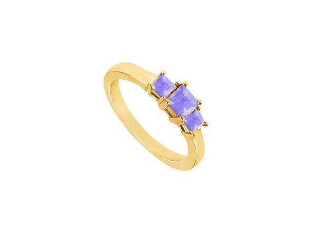 Created Tanzanite Three-Stone Ring in 18K Yellow Gold Vermeil 2.00 ct. t.w.