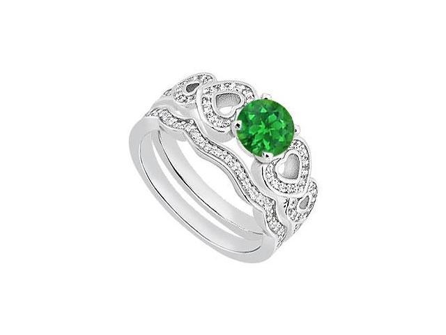 Natural Emerald Heart Engagement Ring with Diamond Band in 14K White Gold 1.05 Carat TGW