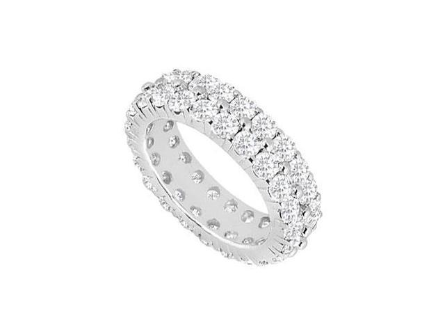 Eternity Band Five Carat Two Row CZ Wedding Bands Prong Set in Sterling Silver 925