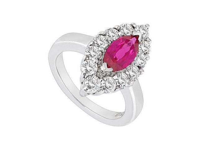 GF Bangkok Ruby and Cubic Zirconia Ring 10K White Gold  1.75 Carat Total Gem Weight