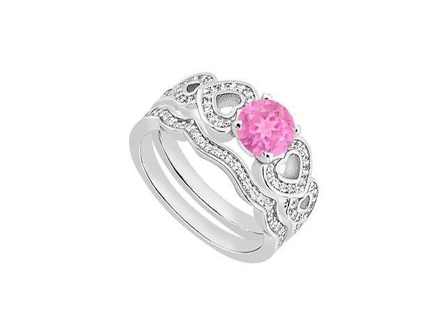 Pink Sapphire Heart Engagement Ring with Diamond Bands in 14K White Gold 1.05 Carat TGW