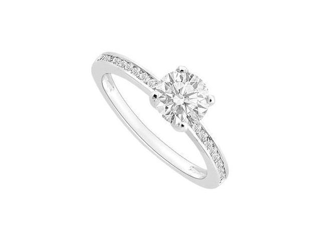 1 Carat Engagement Ring of Triple AAA Quality Cubic Zirconia in 14K White Gold finish