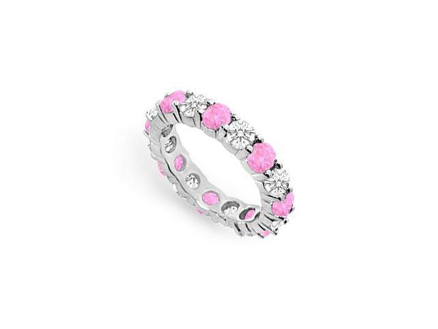 Created Pink Sapphire Eternity Band with CZ Four Carat on 925 Sterling Silver