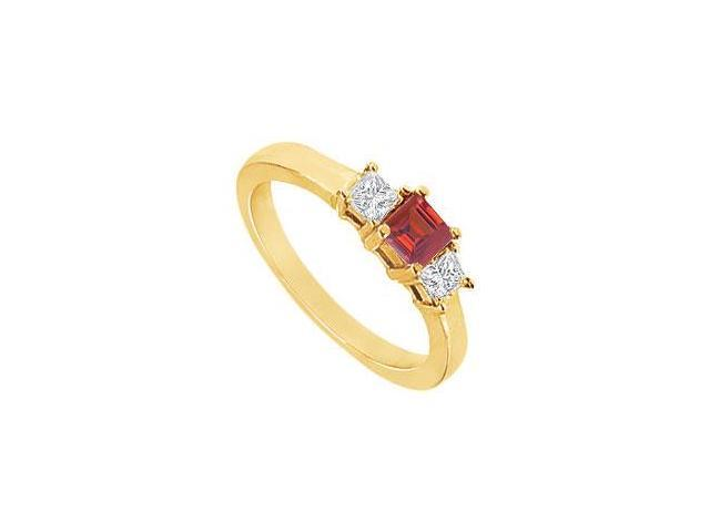 Created Ruby and Cubic Zirconia Ring in 18K Yellow Gold Vermeil 2.00.ct.tw