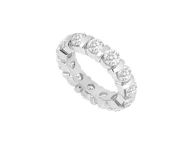 Cubic Zirconia Wedding Bands on 925 Sterling Silver 3 Carat CZ Eternity Band in Bar Setting