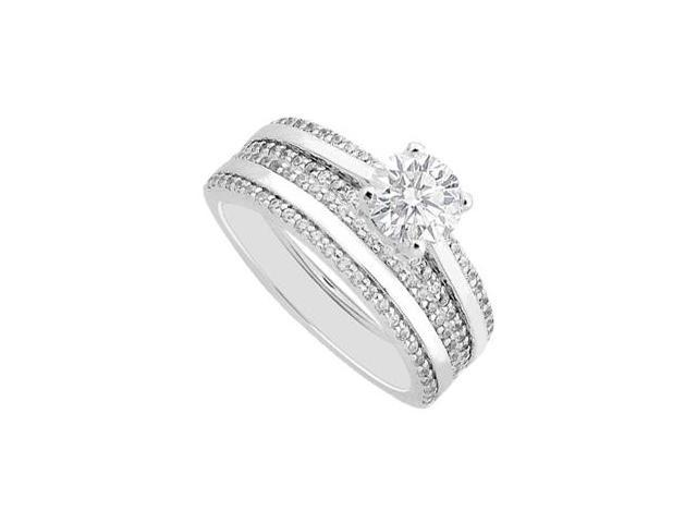1 Carat Diamond Engagement Ring with Matching Wedding Band Sets in White Gold 14K