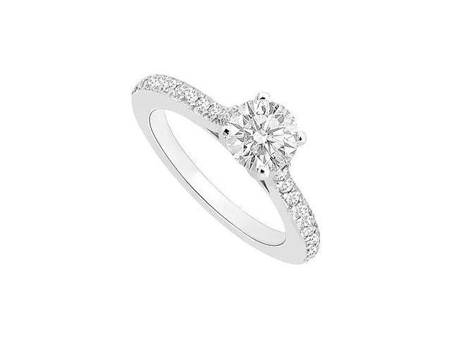 1 Carat Engagement Ring in 14K White Gold Cubic Zirconia