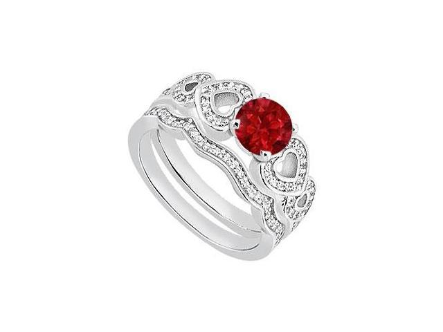 Ruby and Diamond Heart Engagement Ring with Wedding Band in 14K White Gold of 1.05 Carat TGW