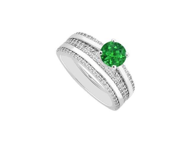 Pave Diamonds with Natural Emerald Engagement Ring and Wedding Band in 14K White Gold 1.25 Carat