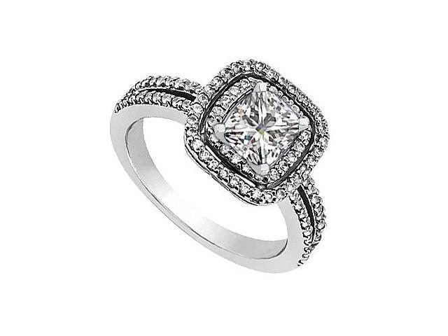 14K White Gold CZ Cubic Zirconia Engagement Ring 1.20 Carat Total Gem Weight