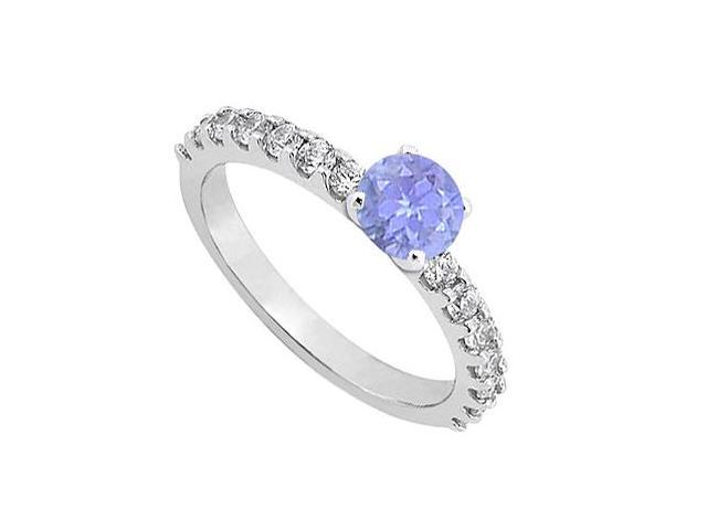 December Birthstone Tanzanite with CZ Engagement Rings in Sterling Silver in 1.00 CT TGW
