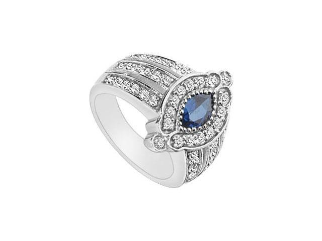 Diffuse Sapphire and Cubic Zirconia Ring 10K White Gold 1.50 Carat Total Gem Weight
