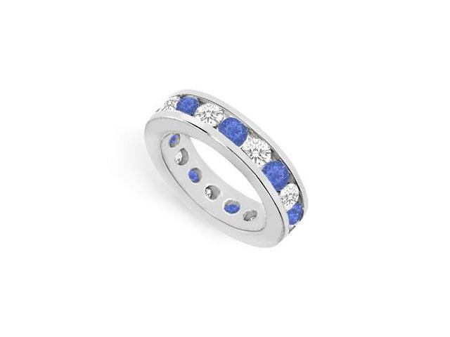 Nine Carat Sapphire Created and CZ Eternity Ring in 925 Sterling Silver Channel Set