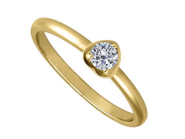 1 Carat Round Cubic Zirconia in 14K Yellow Gold Heart Design Ring