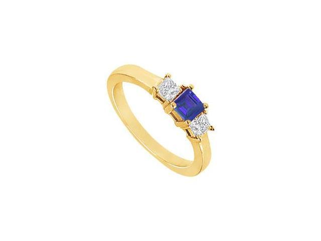 Created Sapphire and Cubic Zirconia Ring in 18K Yellow Gold Vermeil 2.00.ct.tw