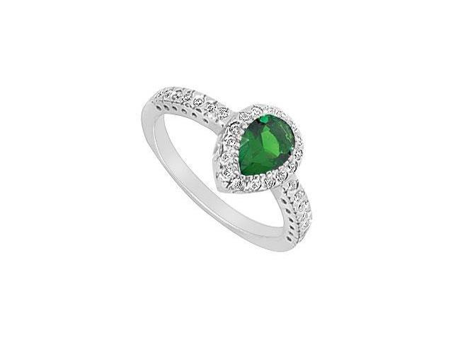 Frosted Emerald and Cubic Zirconia Ring 10K White Gold 1.33 Carat Total Gem Weight