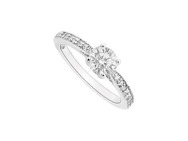 Engagement Ring of 1 Carat Cubic Zirconia in 14K White Gold