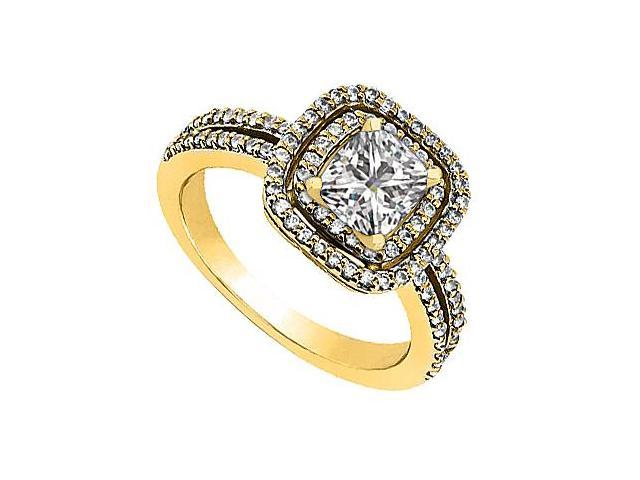 14K Yellow Gold CZ Cubic Zirconia Engagement Ring 1.20 Carat Total Gem Weight