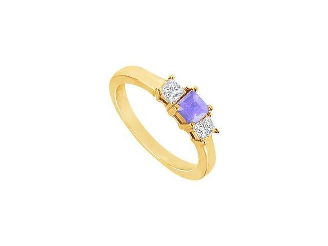 Created Tanzanite and Cubic Zirconia Ring in 18K Yellow Gold Vermeil 2.00.ct.tw