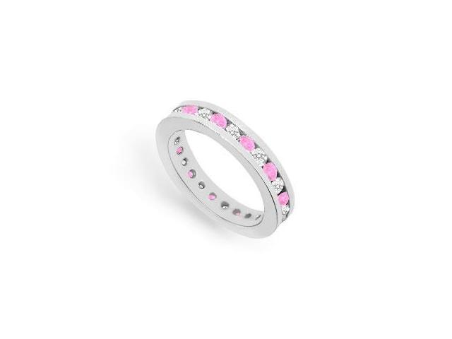 Eternity Ring CZ and Pink Sapphire Created in 925 Sterling Silver Channel Set. 1CT. TGW.