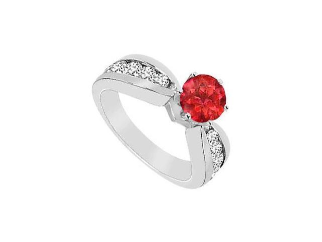 GF Bangkok Ruby and Cubic Zirconia Engagement Ring .925 Sterling Silver 1.75 CT TGW
