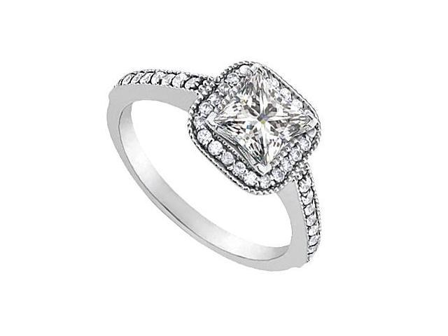 CZ Cubic Zirconia Engagement Ring in 14K White Gold 0.85 Carat Total Gem Weight