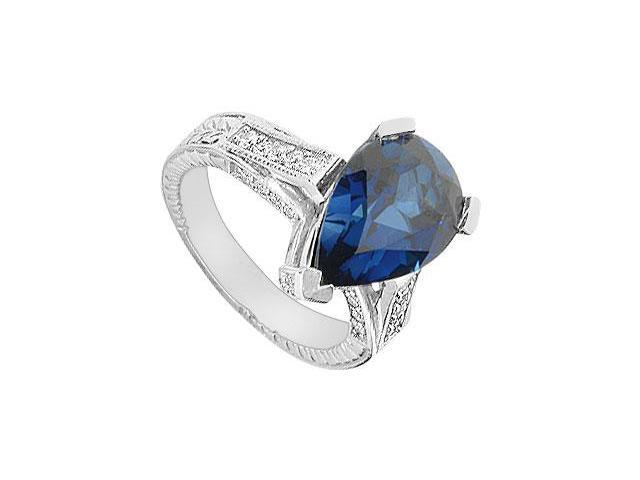 Diffuse Sapphire and Cubic Zirconia Ring 10K White Gold 5.50 Carat Total Gem Weight