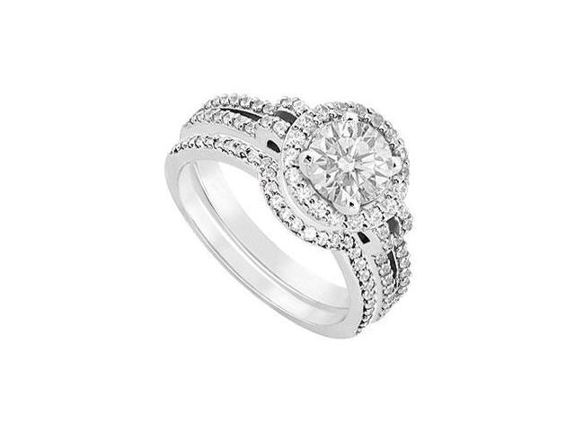 14K White Gold Diamond Engagement Ring with Wedding Band Sets 1.15 CT TDW