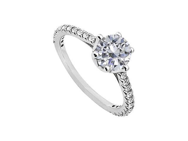 April Birthstone Solitaire Cubic Zirconia Engagement Rings in Sterling Silver 1.33 CT TGW