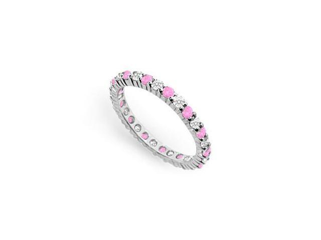 CZ and Created Pink Sapphire Eternity Band in 925 Sterling Silver 1CT. TGW.