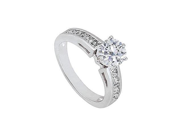 Triple AAA Quality CZ Engagement Ring in 14K White Gold 1.50 Carat Total Gem Weight
