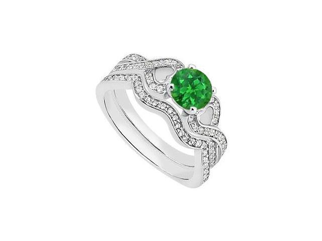 Heart Diamond and Emerald Engagement Ring with Diamond Bands in 14K White Gold 1.25 Carat TGW