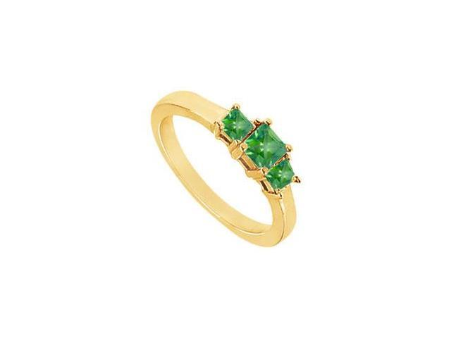 Created Emerald Three-Stone Ring in in 18K Yellow Gold Vermeil 2.00.ct.tw
