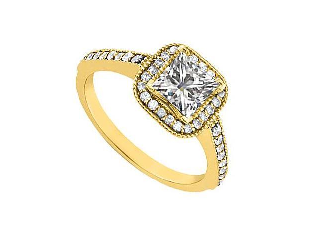 CZ Cubic Zirconia Engagement Ring in 14K Yellow Gold 0.85 Carat Total Gem Weight