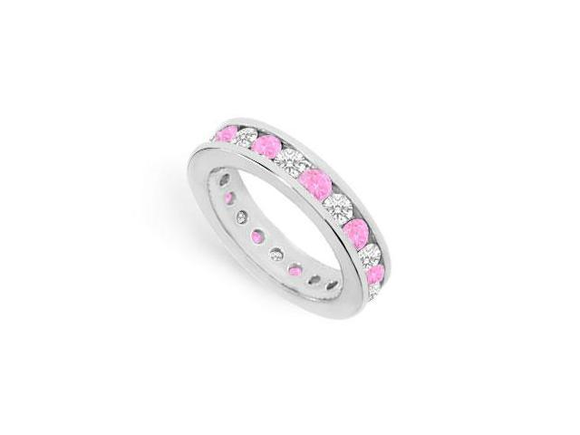 CZ Eternity Bands with Pink Sapphire Created Two Carat in 925 Sterling Silver Channel Set