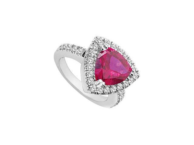 GF Bangkok Ruby and Cubic Zirconia Ring 10K White Gold  1.75 Carat Total Gem Weight