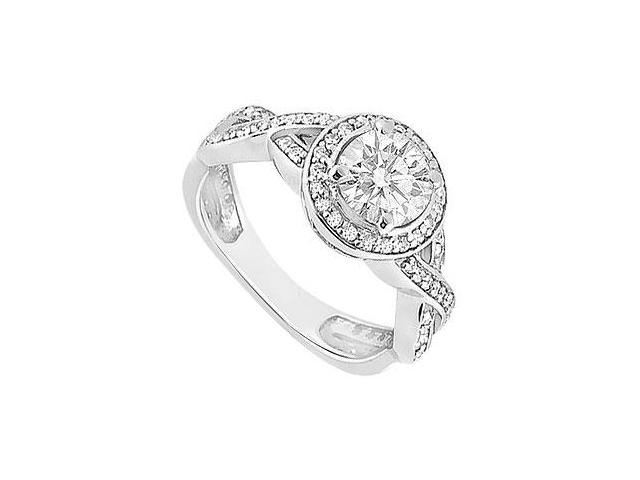 14K White Gold Halo Engagement Ring  with Cubic Zirconia 1 Carat Total Gem Weight
