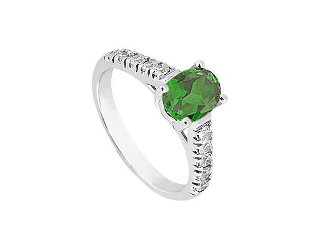 14K White Gold Simulated Green Emerald Fashion Ring with Triple AAA Quality CZ 1 Carat Totaling