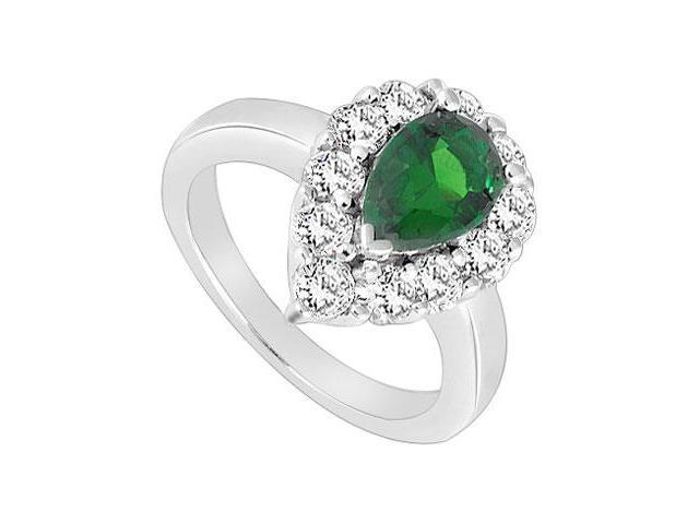 Frosted Emerald and Cubic Zirconia Ring 10K White Gold 2.00 Carat Total Gem Weight