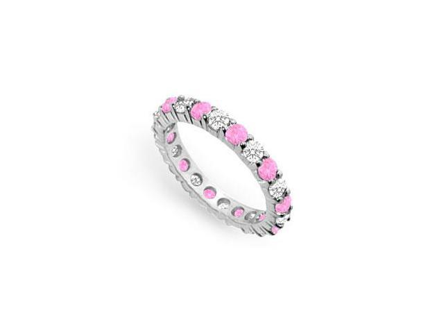 Two Carat Created Pink Sapphire and CZ Eternity Band in 925 Sterling Silver
