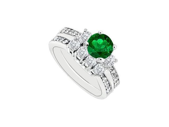 14K White Gold Emerald  Diamond Engagement Ring with Wedding Band Sets 1.50 CT TGW