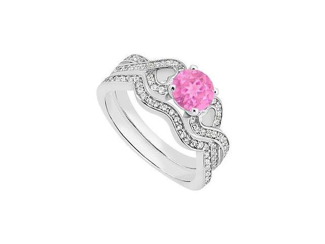 Pink Sapphire Heart Engagement Ring with Diamond Wedding Rings in 14K White Gold 1.25 Carat TGW