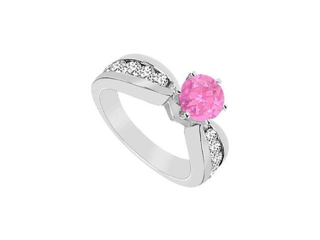 Created Pink Sapphire and Cubic Zirconia Engagement Ring .925 Sterling Silver 1.75 CT TGW