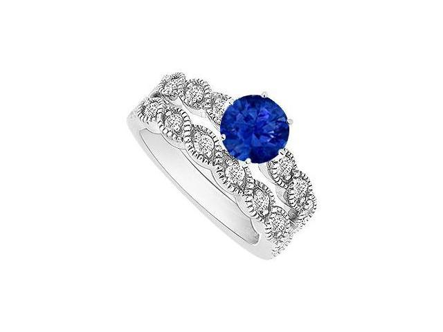Sapphire and Diamond Engagement Ring with Wedding Band Set  14K White Gold - 0.50 CT TGW
