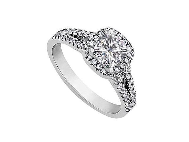 CZ Engagement Ring in White Gold 14K 1 Carat Total Gem Weight