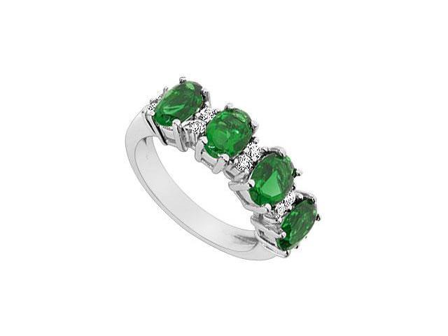 Frosted Emerald and Cubic Zirconia Ring 10K White Gold 2.25 Carat Total Gem Weight