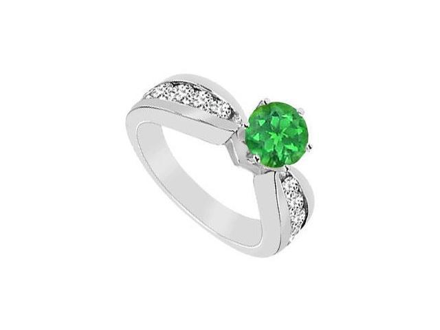 Frosted Emerald and Cubic Zirconia Engagement Ring 925 Sterling Silver 1.75 CT TGW