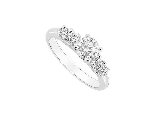 Cubic Zirconia Engagement Ring in White Gold 14K of 0.75 Carat Total Gem Weight