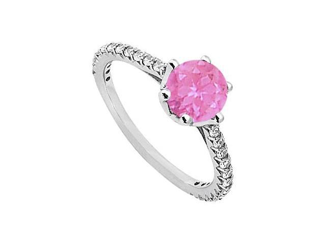 September Birthstone Created Pink Sapphire  CZ Engagement Rings in Sterling Silver 1.33 CT TGW